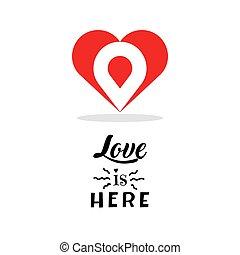 serce, miłość, illustration., isolated., symbol, list miłosny, twórczy, wektor, projektować, template., logo, poznaczcie., dzień