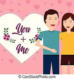 serce, miłość, para, powitanie, valentine, dzień, karta