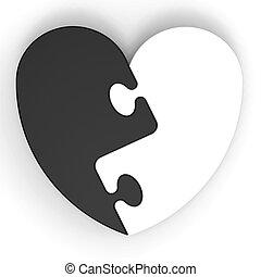 serce, miłość, stracony, two-colored, zagadka, pokaz