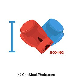 serce, miłość, symbol, boks, boxing., wektor, ilustracja, gloves.