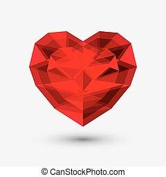 serce, miłość, szkło, symbol., kryształ, icon.