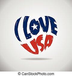 serce, miłość, usa, logo.