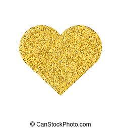 serce, miłość, złoty, złoty, isolated., list miłosny, symbol., formułować, święty, blask, dzień, ikona