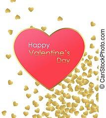 serce, miłość, złoty, złoty, zaproszenie, szablon, card., karta, tło., valentine., czerwony, szczęśliwy, you., tworzenie, text., ślub, czuć się, dzień, illustration., list miłosny, powitanie, wektor, mój