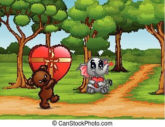 serce, miś, transport, słoń, niemowlę, rysunek, czerwony