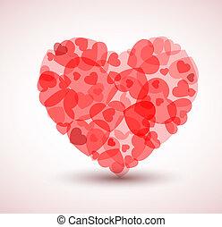serce, mniejszy, cielna, wektor, serca, robiony
