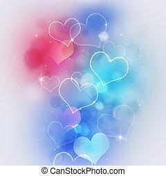 serce, multicolor, valentine, światła