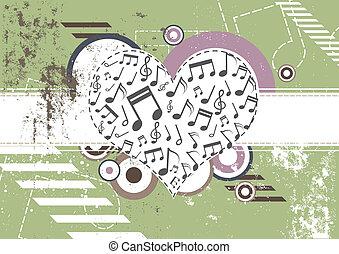 serce, muzyka, retro, tło
