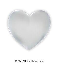 serce, naturalistyczny, barwny, ilustracja, tło., wektor, biały, srebro, 3d