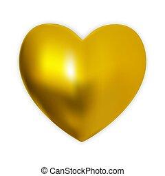 serce, naturalistyczny, barwny, złoty, ilustracja, tło., wektor, biały, 3d