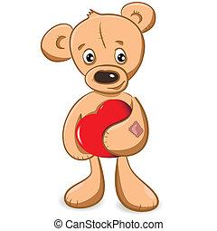 serce, niedźwiedź, teddy
