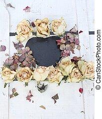 serce, nikczemny, kreda deska, kwiatowy, szykowny