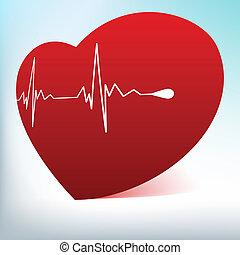 serce, normalny, cardiogram., eps, szkło, 8, czerwony