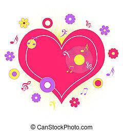 serce, notatki, muzyka