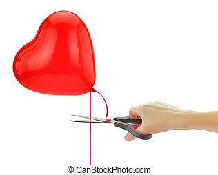 """serce, o, balloon, odizolowany, nożyce, free"""", biały, """"set"""