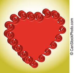 serce, objętościowy, tło, złoty, czerwony