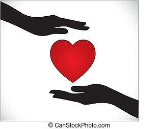 serce, ochrona, miłość, albo, troska