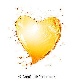 serce, odizolowany, żółty, woda, bryzg, bańki, biały