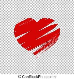 serce, odizolowany, tło, przeźroczysty