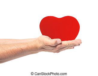 serce, odizolowany, tło, siła robocza, biały czerwony