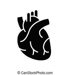 serce, organy, pojęcie, glyph, symbol, wektor, ilustracja, wewnętrzny, ikona, płaski, czarnoskóry, poznaczcie.