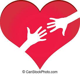 serce, osiąganie, symbol, siła robocza, inny, każdy