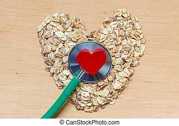 serce, owsiane łuski, stethoscope., mający kształt