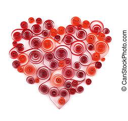 serce, papier,  Curling, czerwony