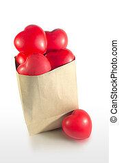 serce, papier torba, czerwony, dużo