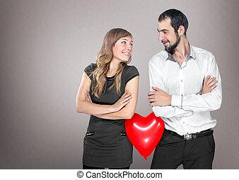 serce, para, balloon, t, między