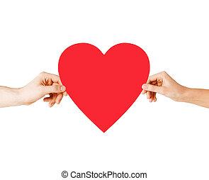 serce, para, dzierżawa, czerwony, siła robocza