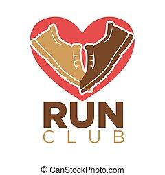 serce, pasaż, obuwie, klub, wektor, sneakers, sport, ikona