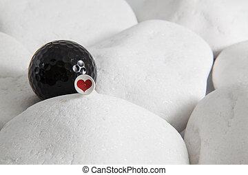 serce, piłka, golf, czerwony czarnoskóry