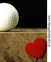 serce, piłka, golf, stół., ostrze