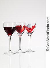 serce, piłka, golf, wino, okulary, czerwone wino