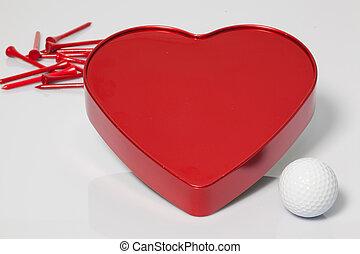 serce, piłka, golfowe trójniki, czerwony