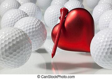 serce, piłki, golf, czerwony, dużo