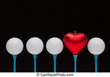 serce, piłki, golf, drewniany, trójniki, czerwony
