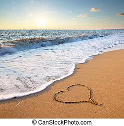 serce, plaża.