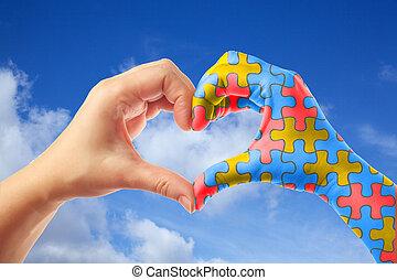 serce, pojęcie, mentalny, próbka, zagadka, wyrzynarka, dzień, formułować, sanitarne spostrzeżenie, świat, autism, hands., troska