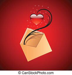 serce, pojęcie, miłość, illustration., wektor, wiadomość, czerwony