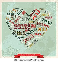 serce, pojęcie, rocznik wina, rok, nowy, 2013, szczęśliwy
