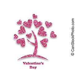 serce, pojęcie, shimmering, liście, list miłosny, dzień drzewa