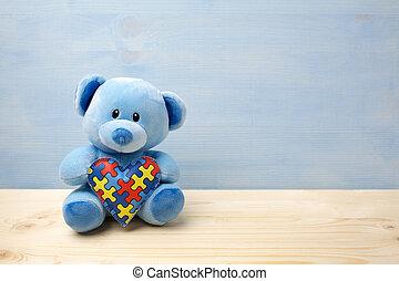 serce, pojęcie, teddy, próbka, zagadka, wyrzynarka, niedźwiedź, autism, dzień, dzierżawa, świat, albo, świadomość