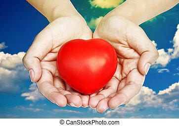 serce, pokaz, czerwony, siła robocza