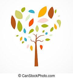 serce postało, abstrakcyjny, drzewo, tło, biały