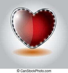 serce postało, button., ilustracja, szkło, wektor, valentine`s dzień, czerwony