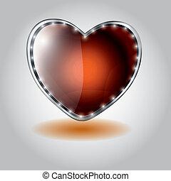 serce postało, button., ilustracja, szkło, wektor, valentine`s, pomarańcza, dzień