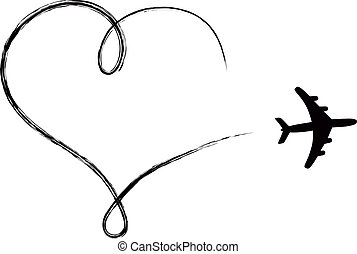 serce postało, ikona, w powietrzu, robiony, przez, samolot