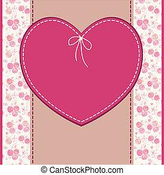 serce, powitanie, urodziny, wektor, ślub, kwiaty, albo, karta